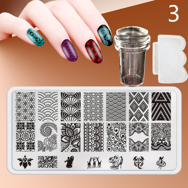 New 12X6cm 44 Style Nail Stamping Plates Set Made Stencils Lace Flower DIY Nail Art Templates+Transparent Stamper Stamp Scraper