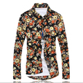 2016 New Men's fashion leisure long-sleeved shirt flowers / Men's printed cultivate one's morality shirts / Handsome men shirts