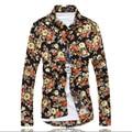 2016 Nova moda masculina lazer longo-sleeved camisa flores/impresso cultivar a moralidade camisas dos homens/bonito camisas dos homens