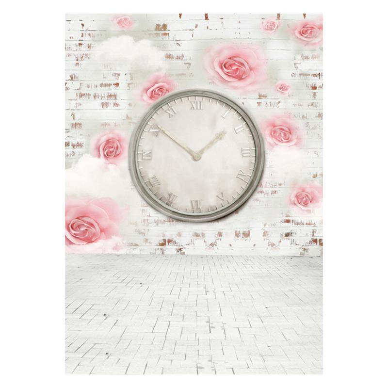 Alloyseed Flower Clock Photography Studio Backdrop Props Wedding Photo Art Background For Photo Studio Accessories edt 2 1 5m fantastic pink flower street studio photography props backdrop background