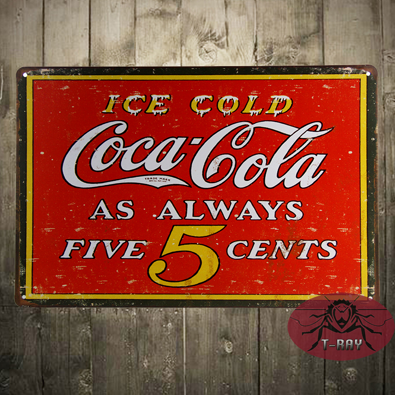 ICE COLD Coke Always five cents Vintage Advertisement Coke Metal Tin Sign, Home Decor, Bar decor