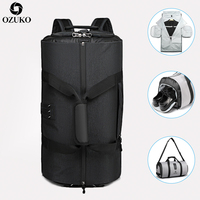 OZUKO New High Capacity Men Travel Bag for Suit Storage Trip Duffle Bag with Shoe Pocket Multifunction Business Hand Luggage Bag