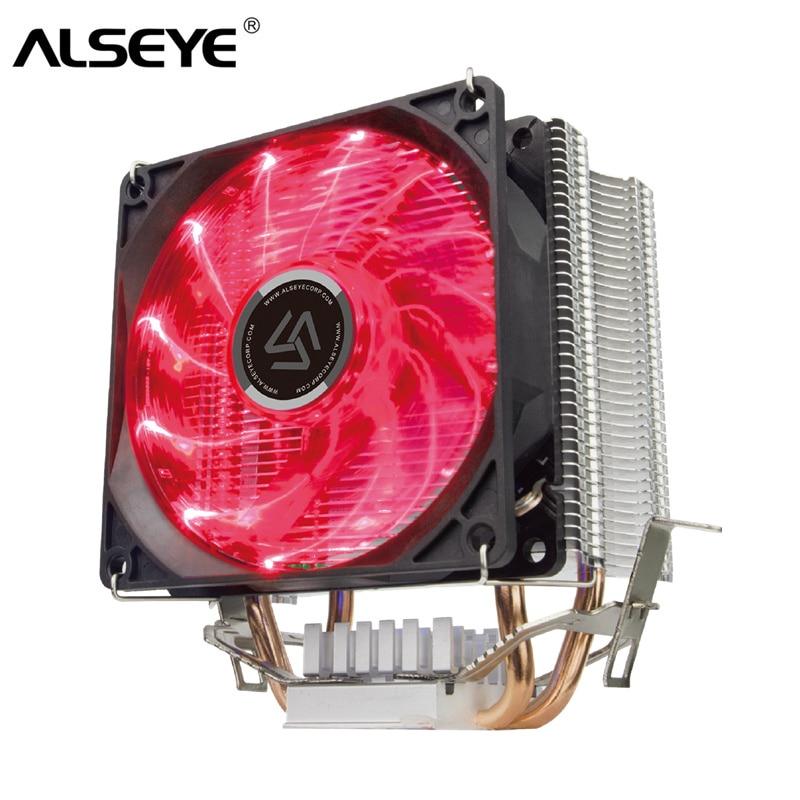 ALSEYE 2 Heatpipe CPU Cooler avec LED De Refroidissement Ventilateur TDP 120 w Refroidisseur pour LGA 1155/1151/1156 /1366/775/AM2/AM3/AM4
