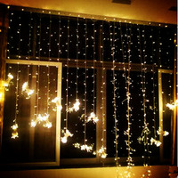 Fiber Optic LED Curtain String Light Fairy Christmas Lights Decoration Holiday Party Free Shipping