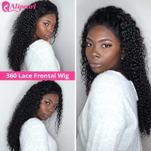 Curly 360 Lace Front Human Hair Wigs For Black Women Pre Plucked Brazilian Lace Wigs 150% 180% 250% Density Remy AliPearl Hair(China)