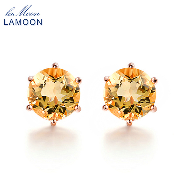 LAMOON 7mm 1.2ct Round Natural Citrine 925 Sterling Silver Simple Stud Earrings Jewelry  S925 For Women LMEI027-in Earrings from Jewelry & Accessories on Aliexpress.com | Alibaba Group