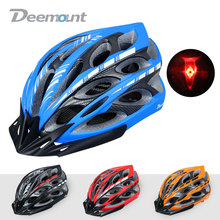 Deemount Mens MTB Bike Helmet Integrally-molded Road Bicycle Helmet EPS Utralight Mtb Cycling Helmet With LED Warning Light