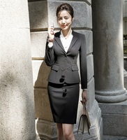 2019 Formal Elegant Women's White Business Blazer Skirt Suits Sets Office Ladies Work Wear Uniforms jacket skirt two piece