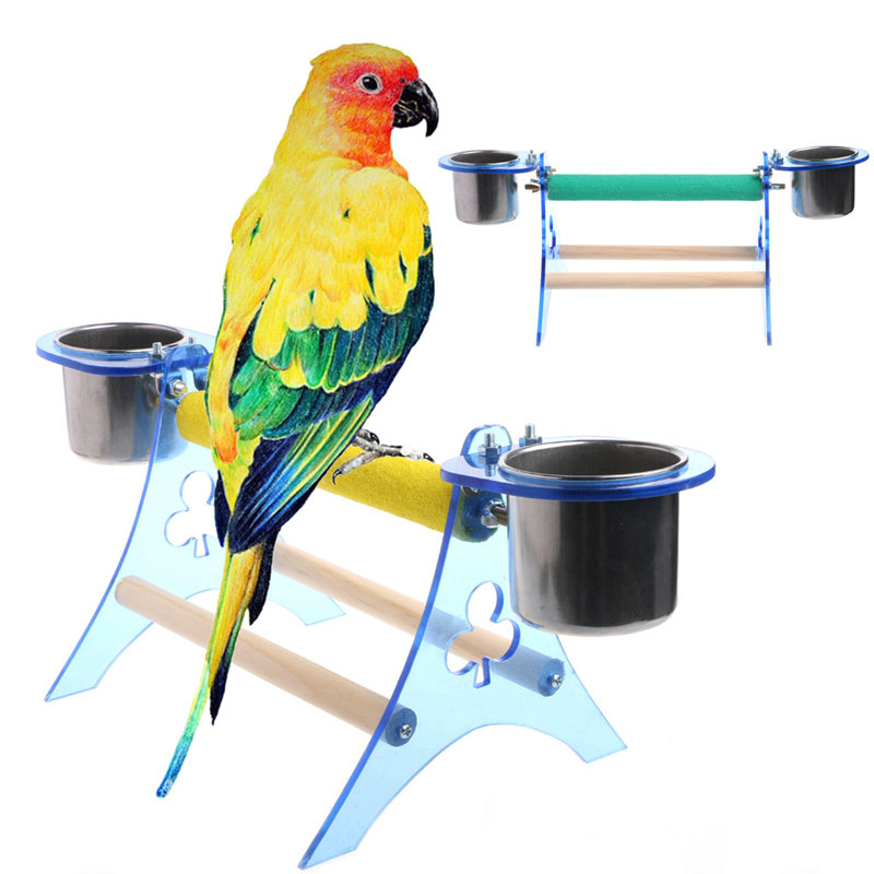Parrot Perch Stand Platform Play Fun Toys Pet Wooden Playstand Cup for Bird Cage