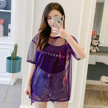 Sexy T-Shirt Transparent Short Sleeve Summer Chiffon shirt 2019 New Large Size Mid-long Women Top Two Sets O-Neck T-shirt 150E7