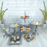 Wedding Decoration Silver Wedding Dessert Tray Mirror Cake Stand Cupcake Pan Cake Display Table Decoration Party Supply 6PCS