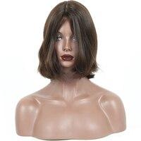 Еврейский парик 100% необработанные европейские натуральные волосы натуральные волнистые Кошерные Парики короткие человеческие волосы боб