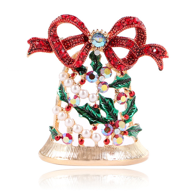 CINDY XIANG Shiny Rhinestone Bell Brooches for Women Creative Christmas  Pins New Year Coat Dress Accessories Jewelry Sell Well b06a09e9c06a