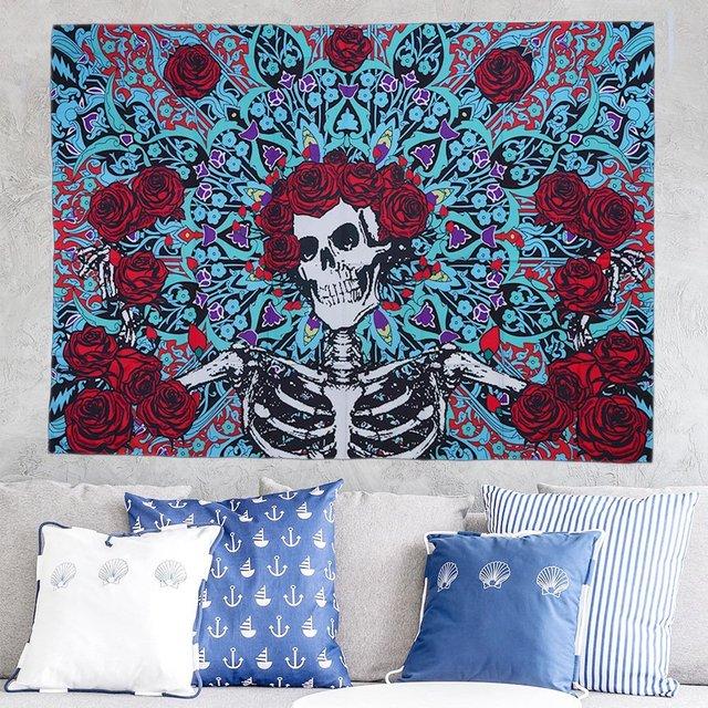 Fashion Sugar Skull Rose Tapestry Wall Hanging Mandala Wall Art Tapestries Bedspread Picnic Bedsheet Blanket Wall Art