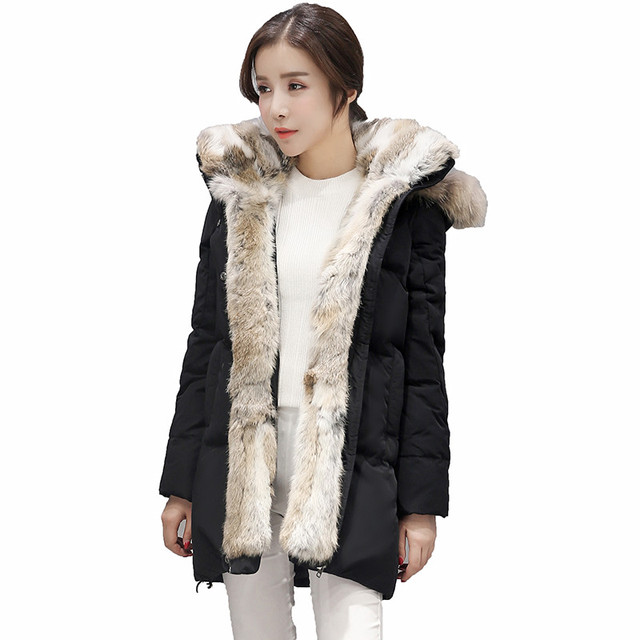 Cheap Hot 2016 Big Raccoon Natural Real Fur Coats For Women Winter Down Jacket Thick Rabbit Fur lining White Duck Down Parka AA227