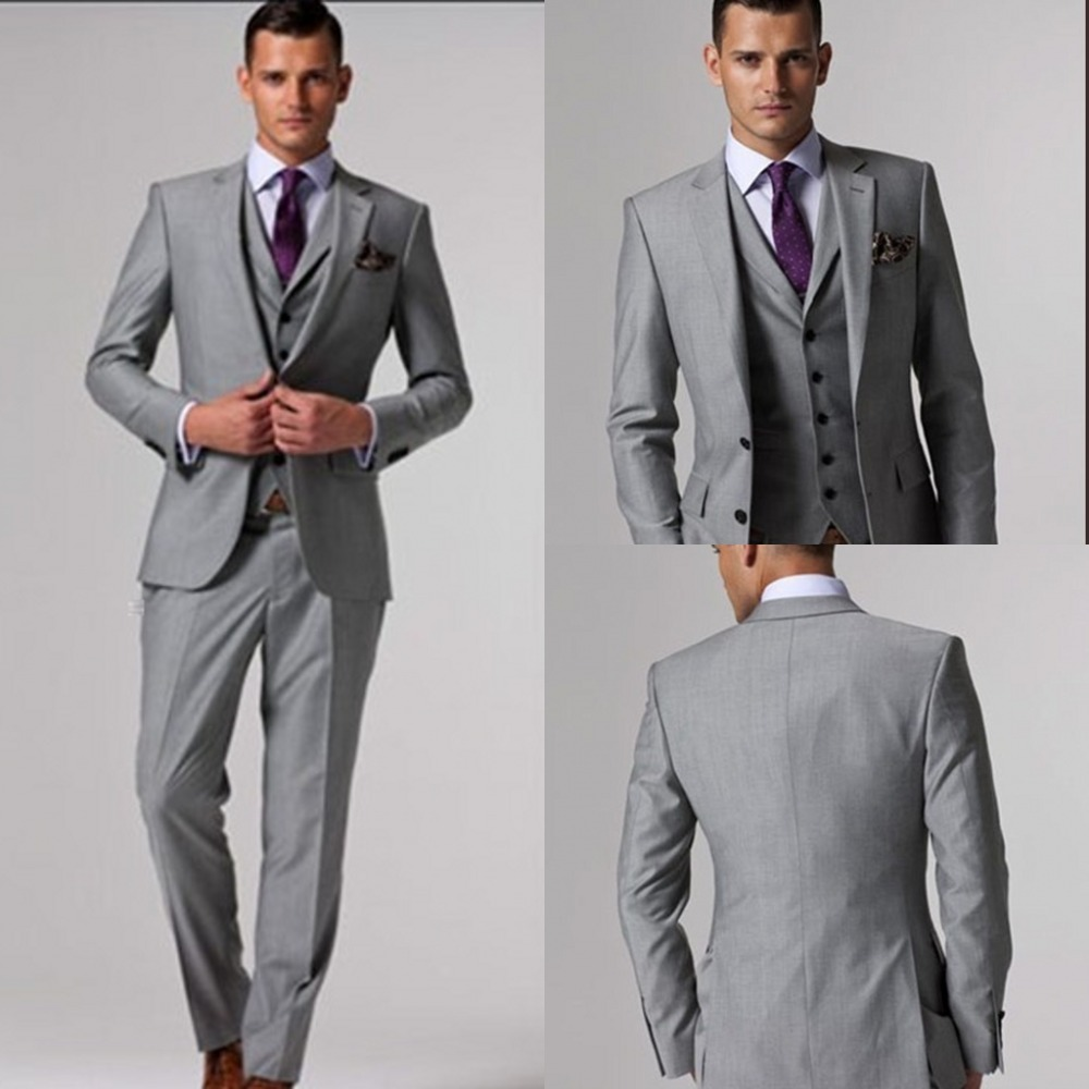 2015 Custom made grey suits wedding dress suit mens set tuxedos ...