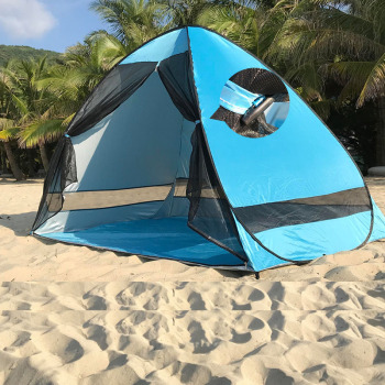 Anti-mosquito beach shade tent with gauze UV protection Automatically camping outdoor portable beach tent with mesh curtain 4