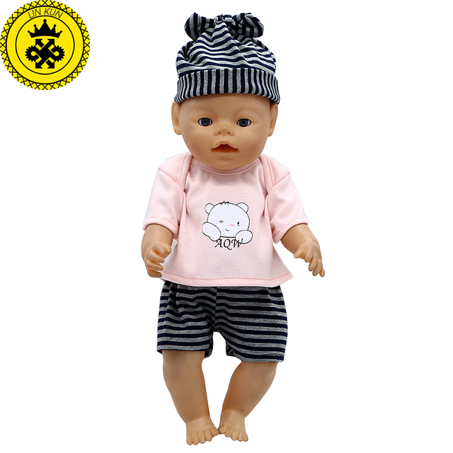 LIN KUN Baby Doll Clothes Cute T-shirt + Shorts + Hat Suit Fit 43cm. Mouse  over to zoom in 8d144ca4a0d8