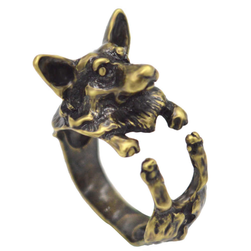 Kinitial Cổ Sói Vòng Đời Boho Chic Welsh Corgi Chó Vòng Thú Tiếng Anh Chó Vòng Hông Đốt Ngón Tay Cho Nữ, Nhẫn Nữ Anel