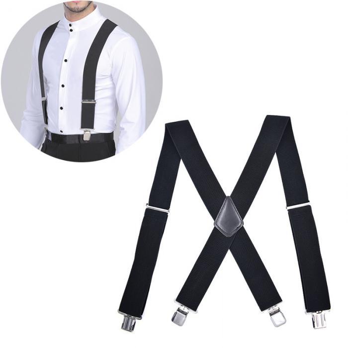 Mens 50MM Wide Suspenders X Shape Adjustable Elastic Trouser Braces with Metal C