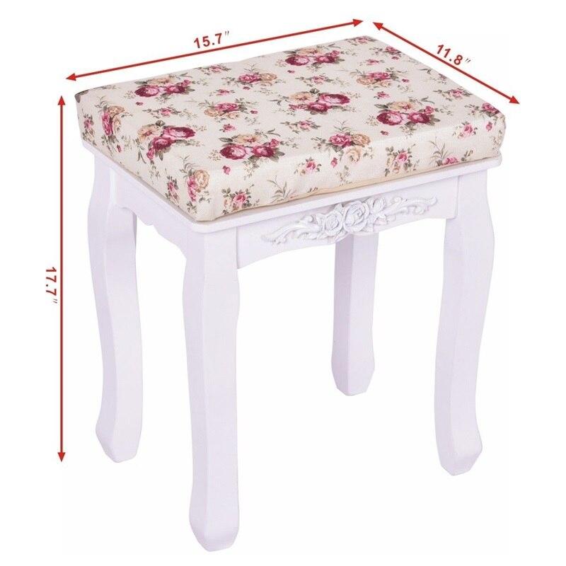 Blanc rembourré vanité tabouret Piano siège pin bois MDF panneau fleur coussin campagne en bois tabouret HB84672 - 2
