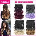 1PC  Clip In Ombre Hair Extension 2 Tones Gradient 50cm 20inch 130g Heat Resistance Real Natural Synthetic Hair Extensions 888