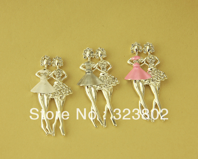 MOQ 3 Pairs (2pcs linked per 1 Pair) Golden Alloy Ballet Girl Coryphee Dancer DIY Jewelry Finding Case Accessory