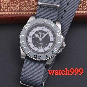 Image 1 - 40mm bliger grijze wijzerplaat keramische bezel datum saffierglas Lichtgevende Effen case Nylon strap mechanische automatische mannen horloge
