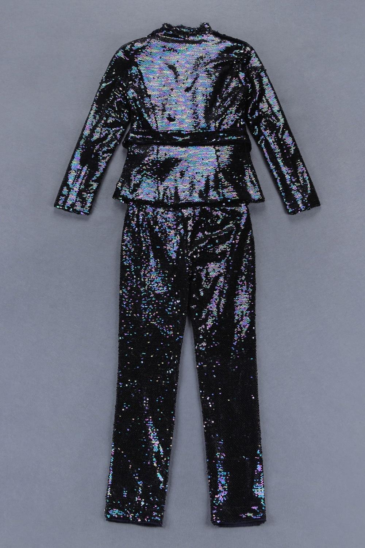 Col Femmes Parti Paillettes Noir À Droite Soirée De Pièces Bandage Longues 2 Hiver Célébrité En Deux Nouveau 2018 Robe V Salopette Manches qzxAFR