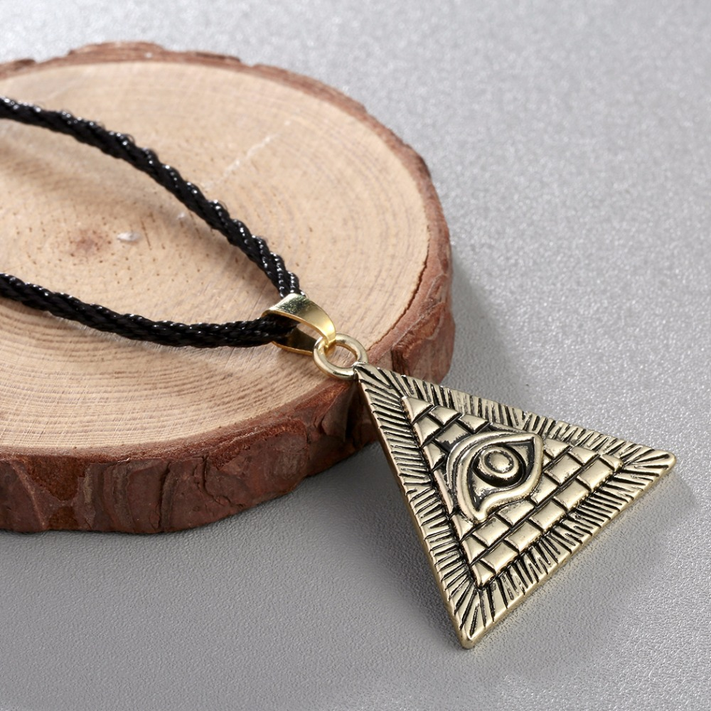 CHENGXUN Egyptian Egypt Pyramid All-Seeing Evil Eye Charm Pendant Men Necklace Geometric Triangle Collier Male  4