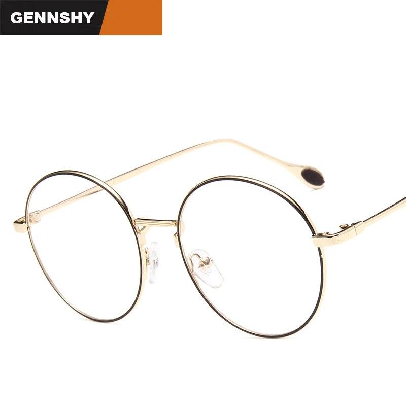 2017 Fashion Round Optical Frame Women Men Vintage Brand Design Eyeglasses Unisex Retro Coffee Metal Eyewear Clear Lenses Lady