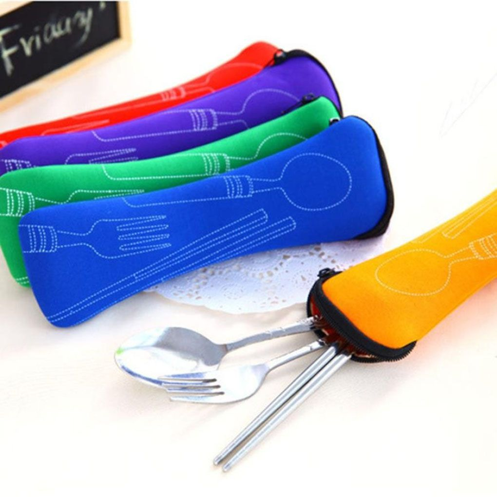 Travel Accessories 1pcs Popular 3x Fork Spoon Cover Bag Cutlery Portable Camping Picnic Bag