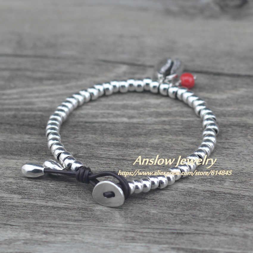Anslow New Fashion markowa biżuteria Beaden Ocean kształt muszli bransoletka dla kobiet dzieci Lady studenci prezent na boże narodzenie LOW0753LB