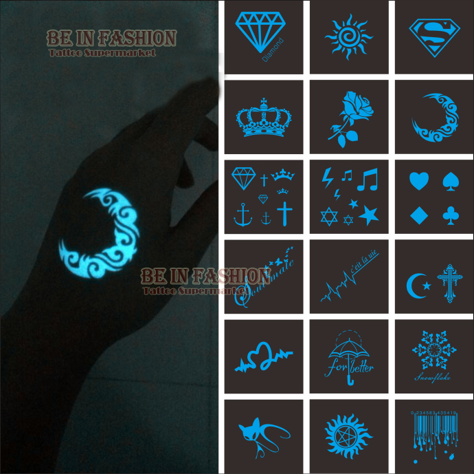 1piece Hot Night Club Party Fluorescent Luminous Flash Tattoo Sticker Waterproof Blue Green Bright Light Moon Rose Diamond Party