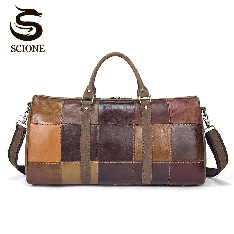 Men Genuine Leather Travel Bag Male Bags Vintage Duffle Handbag Men s Big  Luggage Business Bag Retro 96f53a1b6ab88