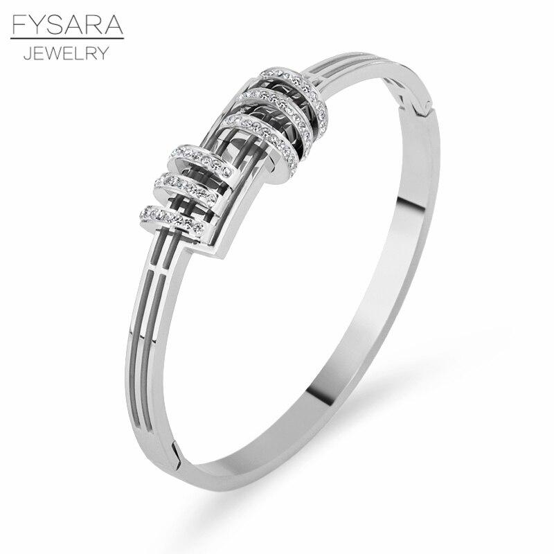 FYSARA Luxus Marke Armbänder Zirkonia Armreifen Für Frauen Kreis Runde Kristalle Gepflasterte Pulseiras Romantische Partei Schmuck