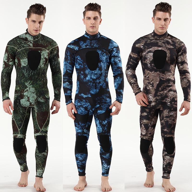 Men's 3mm Back Zip Full Body Wetsuit Neoprene Scuba Diving Swim Surfing Snorkeling Suit Camouflage One Piece Swimsuit Jumpsuit цена