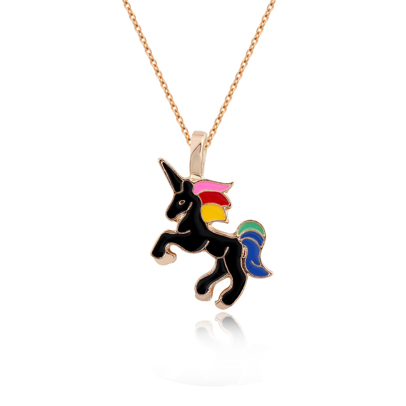 Dayoff Woman Handmade Colorful Enamel Unicorn Pendant Necklaces Women Jewelry Metal Animal Cute Gold Necklace Collar Chains N117
