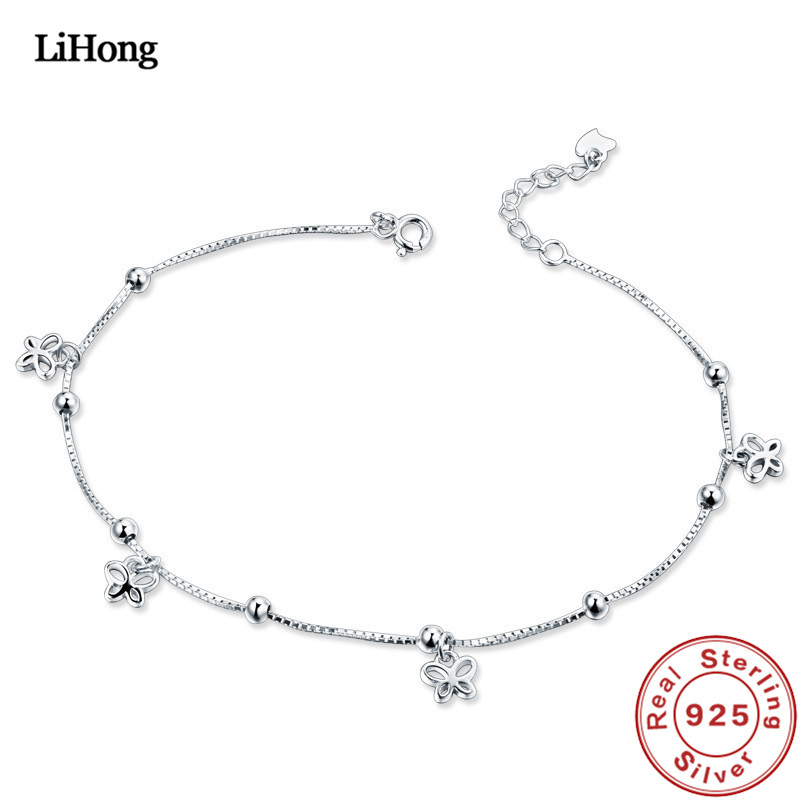 Solid Silver 925 Silver Anklet Woman Butterfly Pendant 100% 925 Sterling Silver Anklet Summer Fashion Jewelry