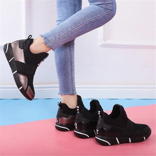 2019 Femmes Sneakers chaussures vulcanisées Dames chaussures décontractées Respirant Marche chaussures plates en maille grande taille chaussures couple size35-40 4