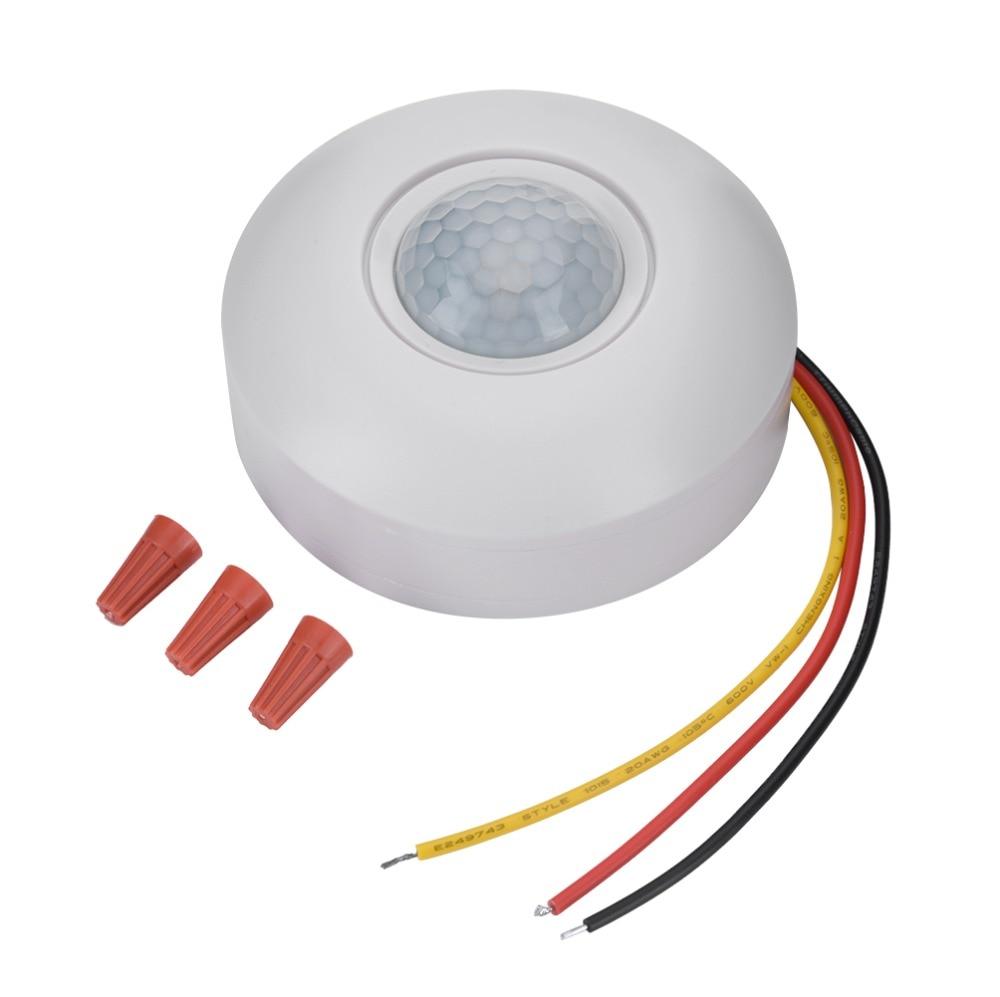 12 V de infrarrojos Sensor de movimiento PIR interruptor con retardo de tiempo 360 grados ángulo de cono detectar Sensor de la inducción para LED de techo luz de nuevo