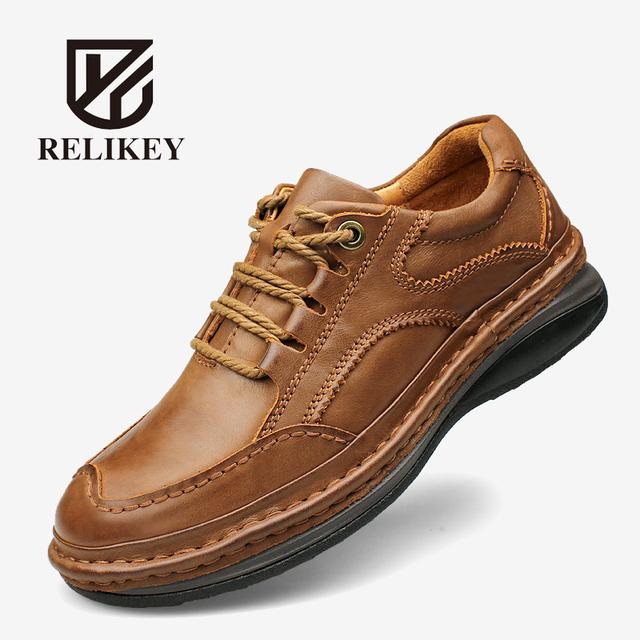 Hecho a mano de Los Hombres Botas de Trabajo RELIKEY Marca Hombres Clásicos Zapatos Causales de Cuero de Grano Completo Botines para Hombres