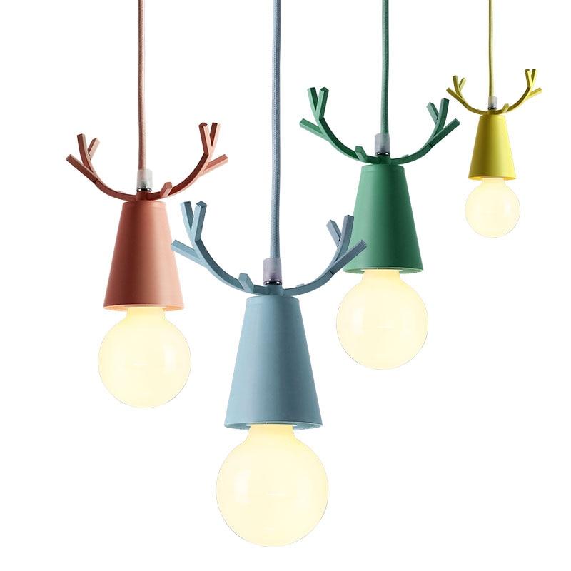 Modern Deer Pendant Lights Christmas Antlers Hanging Lamps Macaron Childrens Room Bedroom Home Light Fixtures Decoration