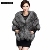 [CHENS SISTER] 2018 Winter Faux Fur Coat Elegant Thick Warm Women's Soft Sleeveless Faux Fur Vest Coat Waistcoat Jacket