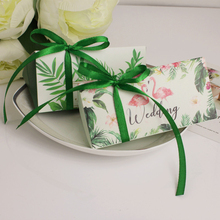 2018 New Hot Candy Box 50pcs/lot 7g/pcs Wedding Gift Boxes+Silk Ribbon Bags Bricks Flamingo Kids Birthday Party Supplies