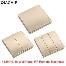 QIACHIP 433 Mhz 무선 RF 벽 패널 송신기 + RF AC 110V 220V 1 채널 원격 제어 스위치 수신기 홀 침실 조명