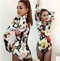 Free shipping !!!! The new bar club DS costumes female DJ playing CARDS printed conjoined stage clothing fashion / S-L