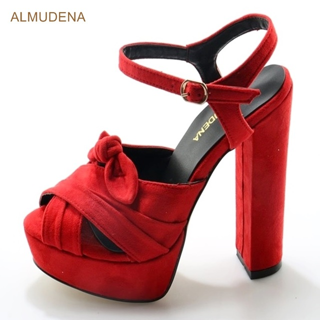 ALMUDENA Sexy Women Hot Red Suede Chunky Heel Sandals Cut Bowtie Buckle  Strap Dress Shoes Cross Strappy Butterfly Wedding Shoes