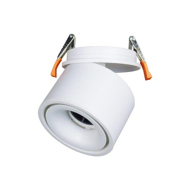 Entrada 85 265Vac 3W para 12W LED embutido para baixo a lâmpada, dobrável e rotativo COB fundo Corredor de teto pode ser escurecido spot light