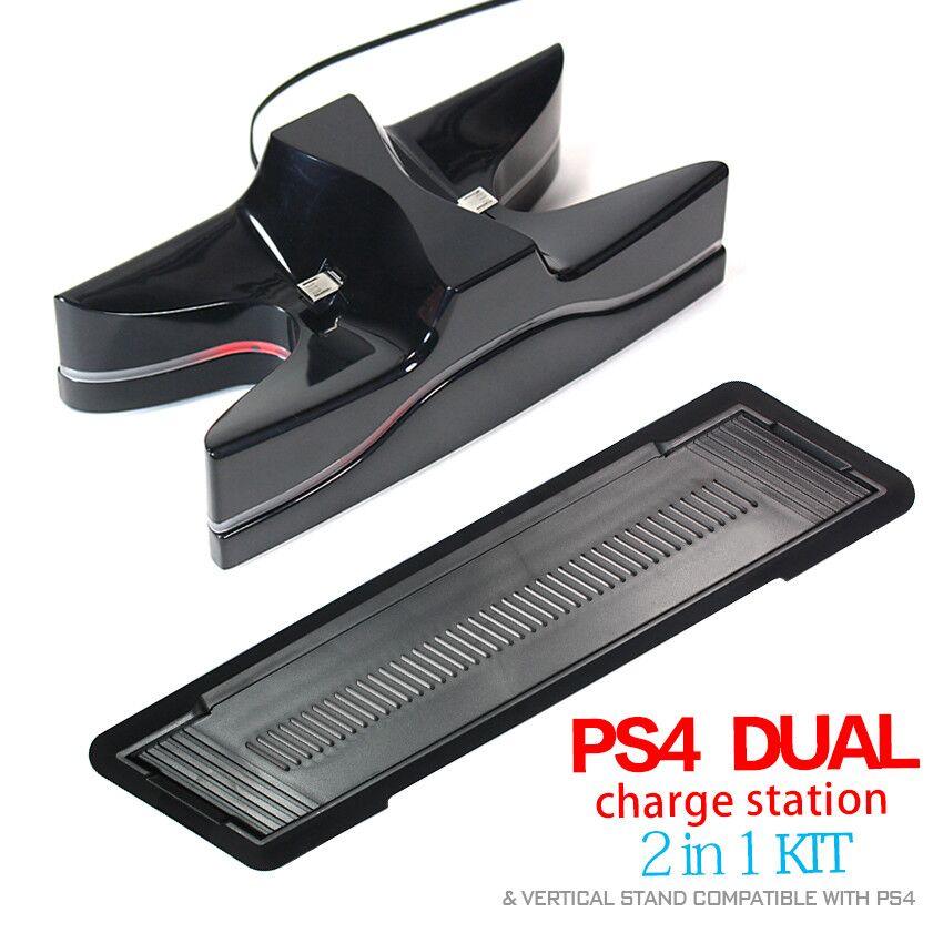 Spiltilbehør med Controller Ladestativ / Holder til Sony Playstation PS4 Controllers + PS4 Console Lodret Holder / Stand